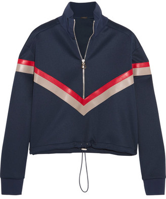 Versace - Leather-paneled Stretch-satin Jersey Sweatshirt - Navy $1,150 thestylecure.com