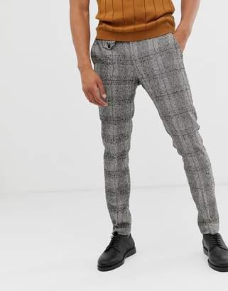 Asos Design DESIGN skinny smart pants in black nepp check with adjustable waist