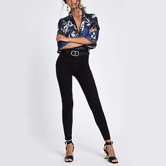 River Island Navy floral print wrap front body