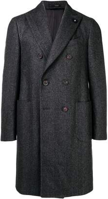 Lardini double breasted herringbone coat