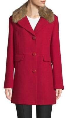 Kate Spade Faux Fur-Trimmed Notch Collar Car Coat