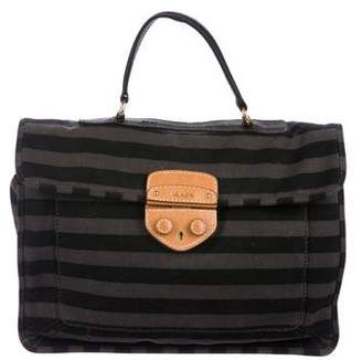 Prada Striped Canvas Satchel