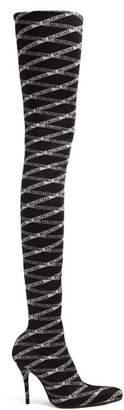 Balenciaga Over The Knee Logo Jacquard Boots - Womens - Black White