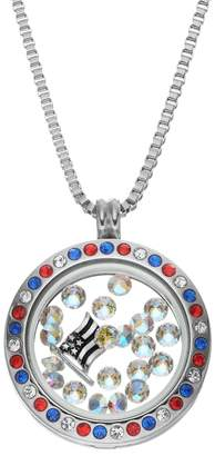 Swarovski Blue La Rue Crystal Stainless Steel 1-in. Round American Flag Charm Locket - Made with Crystals