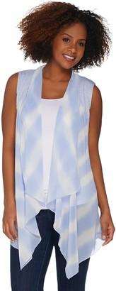 Logo By Lori Goldstein LOGO by Lori Goldstein Tie-Dye Printed Chiffon Open Front Vest