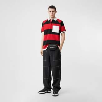 Burberry Striped Cotton Piqué Oversized Polo Shirt