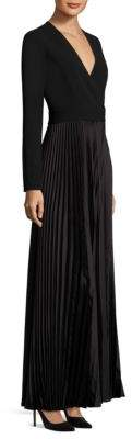 Diane von Furstenberg Long-Sleeve Pleated Wrap Gown