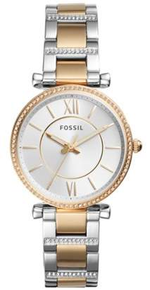 Fossil Carlie Three-Hand Two-Tone Stainless Steel Watch Jewelry