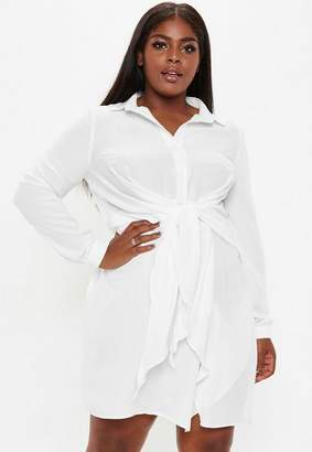 Missguided Plus Size White Tie Waist Shirt Dress
