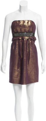 Vera Wang Metallic Strapless Dress $145 thestylecure.com
