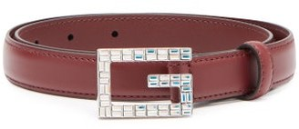 Gucci Gg Crystal Embellished Leather Belt - Womens - Red