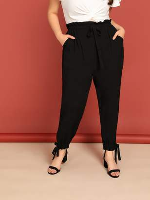 Shein Plus Slant Print Drawstring Waist Frilled Pants