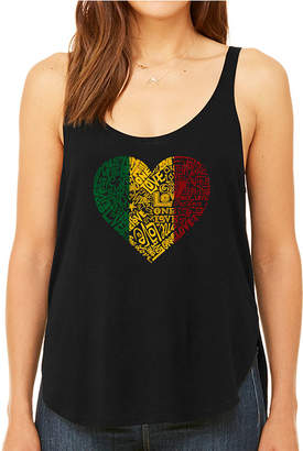 LOS ANGELES POP ART Los Angeles Pop Art Women's Premium Word Art Flowy Tank Top - One Love Heart