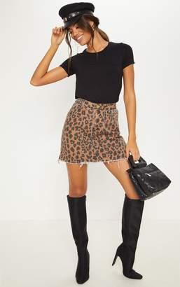 PrettyLittleThing Brown Leopard Print Denim Mini Skirt