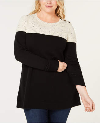 Charter Club Plus Size Colorblocked Sweater