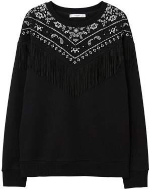MANGO Fringed cotton-blend sweatshirt
