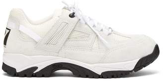 Maison Margiela - Security Suede And Mesh Low Top Trainers - Mens - White