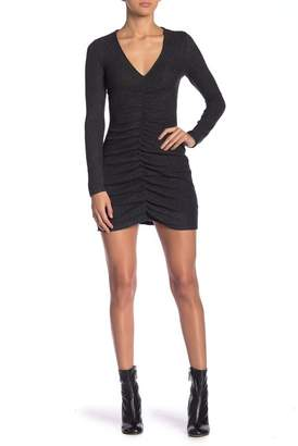 Love, Fire Ruched Ribbed Knit Mini Dress