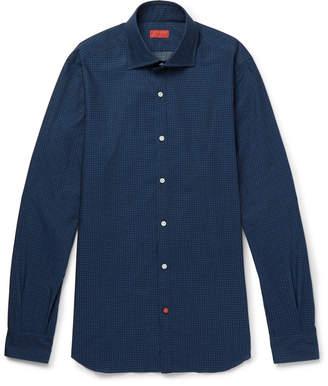 Isaia Slim-Fit Floral-Print Cotton-Chambray Shirt