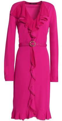 Roberto Cavalli Belted Ruffle-Trimmed Crepe Dress