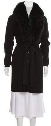 Versace Fur-Trimmed Wool Cardigan
