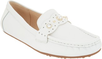 Isaac Mizrahi Live! Leather Moccasins with Faux Pearls