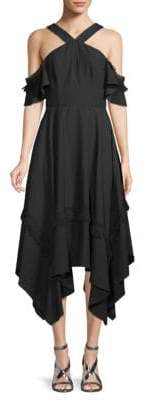 BCBGMAXAZRIA Cold-Shoulder Handkerchief Dress