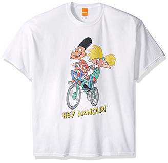 Nickelodeon Men's Hey Arnold Arnold and Gerald On Bike T-Shirt