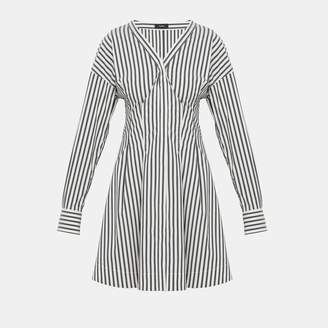 Theory Striped Darted Button-Down Dress
