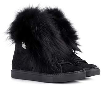 Moncler Caroline fur-trimmed sneakers