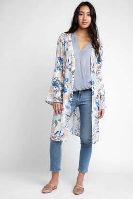 CRa En ̈Me En CrAme Floral Duster Kimono With Bell Sleeves