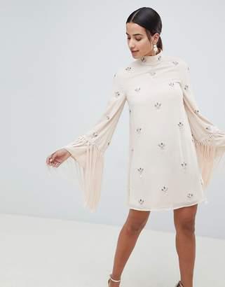 Asos Design DESIGN Embellished Shift Mini Dress With Fringed Sleeves