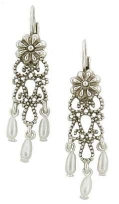 Couture Antiquities Tone Simulated Pearl Floral Drop Earrings