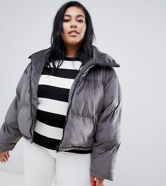 Brave Soul Plus ramblin padded coat in velvet