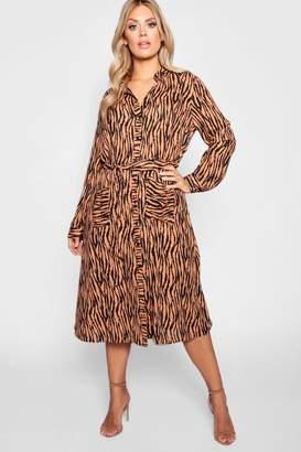 boohoo Plus Tiger Printed Shirt Midi Dress
