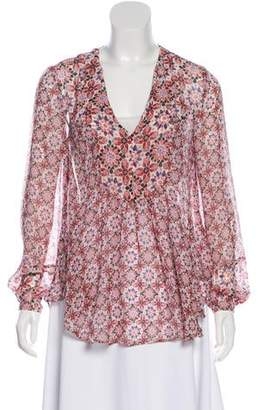 Rachel Zoe Long Sleeve Silk Blouse