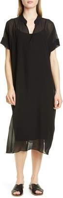 Eileen Fisher Sheer Overlay Silk Dress