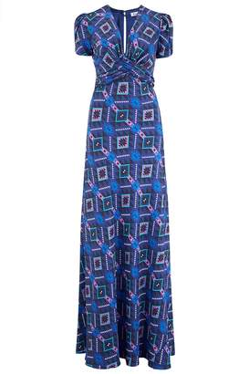 Libelula Long Millie Dress Blue & Purple Geotri Print
