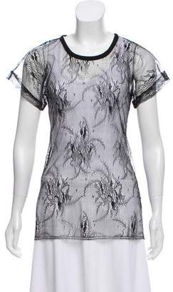 Yigal Azrouel Lace Short Sleeve Top