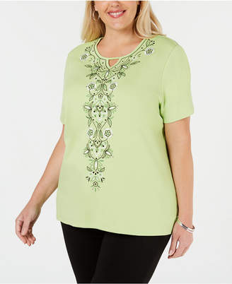 18e7d78a1e Alfred Dunner Plus Size Cayman Islands Embroidered Studded Top