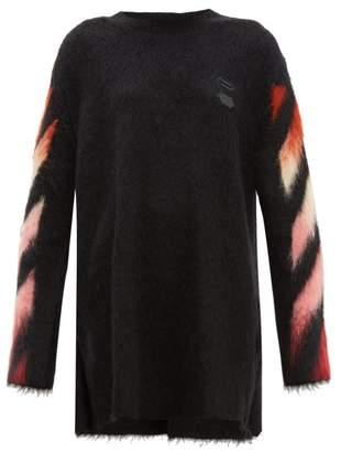 Off-White Off White Diag Logo Intarsia Wool Blend Sweater Dress - Womens - Black Multi