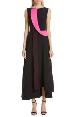 Roksanda Contrast Panel Asymmetrical Silk Georgette Dress