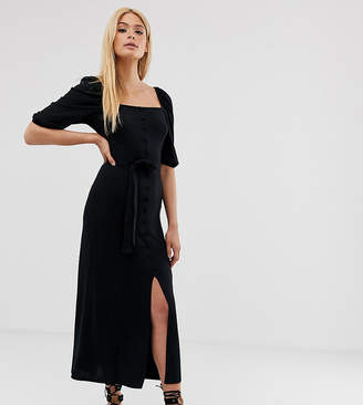 Asos Tall DESIGN Tall midi button through square neck dress with belt