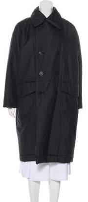 Issey Miyake Double-Breasted Oversize Coat Black Double-Breasted Oversize Coat