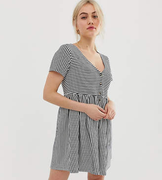 Asos DESIGN Petite mini v neck button through smock dress in stripe