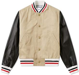 Moncler Gamme Bleu Leather Sleeve Varsity Jacket