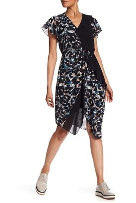 Rachel Roy Mixed Media Ruffle Panel Dress