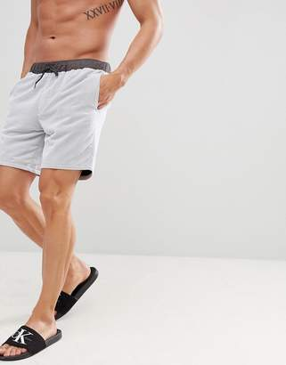 Asos Design Swim Shorts In White With Grey Mesh Overlay In Mid Length