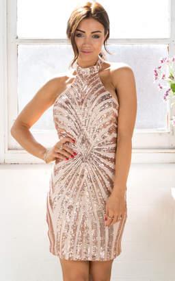 Showpo Glitz And Glam Dress in Rose Gold Sequin