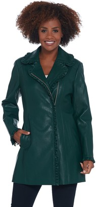 Dennis Basso Faux Leather Zip Front Jacket w/ Ruffle Detail